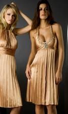 Low Cut Scoop Neck Pleated Short Dress by Flip