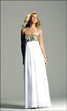 Faviana 6148 White/Gold Dress