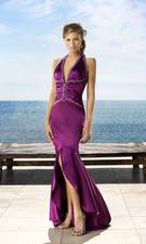 low cut purple prom