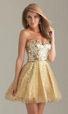 Night Moves 6498 Gold Dress