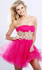 Sherri Hill 1104 Fuchsia/Gold Dress