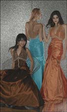 Tiffany 6691 Brown/Turquoise/Orange Dress
